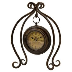 Found it at Wayfair - Hanging Worn Iron Clock with Stand