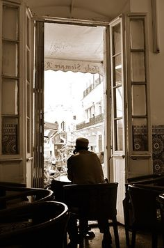 Cafe in Tangier, Morocco.