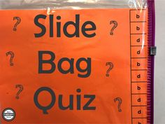 Slide Bag Quiz - Fine Motor and Bimanual Skills - Your Therapy Source Motor Activities, Activities To Do, Response To Intervention, Pediatric Occupational Therapy, Therapy Tools, Therapy Ideas, In Writing, Speech And Language, Fine Motor Skills