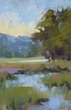 Landscape Painting MOUNTAIN farm,River ART Original Pastel Painting 4x6