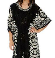 Long Caftan Women's Dress 60s Beach Cover up Embellished Kaftan Plus Size Black