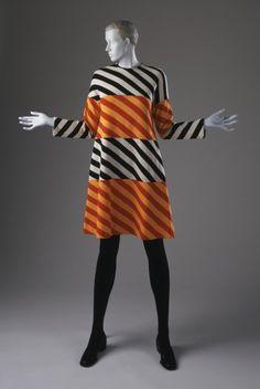 Woman's Mini-dress  Rudi Gernreich (Austria, active United States, 1922-1985)  United States, California, 1973  Costumes; principal attire (entire body)  Wool knit  Center back length: 37 in. (93.98 cm)  Gift of Greta Popoff (AC1997.84.2)  Costume and Textiles