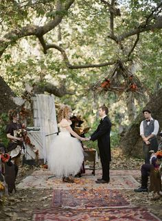 using rugs for a natural setting ceremony