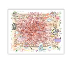 Té por la tarde de Londres ilustrado mapa. Ilustración acuarela vintage mapa inglés. Formato: Horizontal-paisaje.  Impresión de giclee archival. Firmado con lápiz. Impreso en papel prensado en caliente de BFK Rives arte fino, superficie lisa, 140 libras, 100% algodón (libre de ácido), utilizando tintas de pigmento de archivo.  Tamaño:  * 8 X 10: El papel mide 8 X 10 pulgadas (20,3 cm X 25,4 cm)  * 8 1/4 X 11 3/4 (A4): El papel mide 8 1/4 X 11 3/4 pulgadas (21 cm X 29,7 cm)...