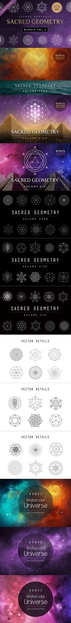 Our Sacred Geometry Vector Bundle Vol. 2 comes with 27 completely unique handcrafted design elements! It includes all three Sacred Geometry Sets – Volumes 4-6!  Sacred Geometry Bundle Vol. 1 is a best-seller across all of our shops and was included in the Top 100 Products of 2015 –– Reg. Price: $33 Including Backgrounds – Deal Price: $16 – SAVE: 50%