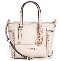 GUESS Delaney Studded Mini Tote (1,190 MXN) ❤ liked on Polyvore featuring bags, handbags, tote bags, studded tote bag, guess tote bags, pink handbags, guess tote and mini purses