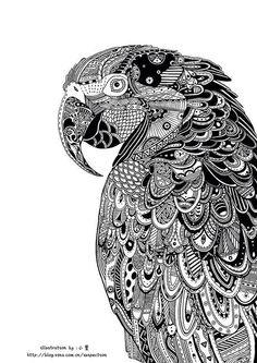 Zentangle, black and white illustration Dibujos Zentangle Art, Zentangle Drawings, Doodles Zentangles, Zentangle Patterns, Art Drawings, Zentangle Animal, Mandala Art, Mandalas Drawing, Mandala Feather