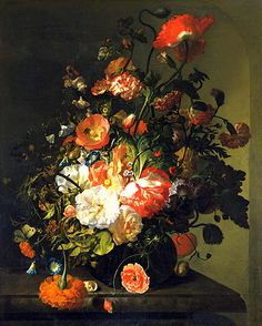 fabulous paintings by Rachel Ruysch (born in 1664 in Amsterdam, died 1750 Amsterdam) was a Dutch still life painter of the Baroque
