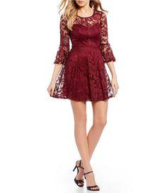 3af3f5af2ea I.N. San Francisco 3 4 Sleeve Lace Fit-And-Flare Dress