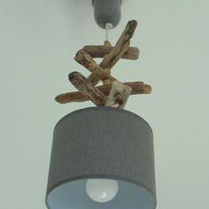 Plafonnier bois flotté 2 spots Led métal alu verre orientables