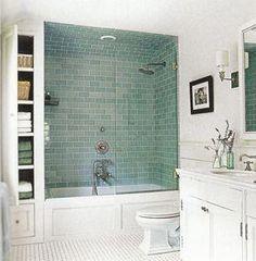 'Frosted Sage' Green Glass subway tiles in shower. Gorgeous modern bathroom! Tile.html#.VNPvK0fF-1U #BathtubTypes