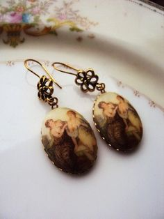 Vintage Earrings French Limoge Style Cameo by primitivepincushion, $18.50