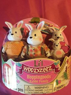New Lil Woodzeez HOPPINGOODS RABBIT FAMILY Great Easter Basket Gift New #LILWOODZEEZ