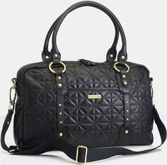 **This bag is sold out The Storksak Elizabeth Quilted Leather Diaper Bag in Black is made from hand quilted butter soft cowhide leather and features ch Quilted Bag, Quilted Leather, Cowhide Leather, Black Leather, Black Diaper Bag, Leather Diaper Bags, Baby Changing Bags, Changing Mat, Black Quilt