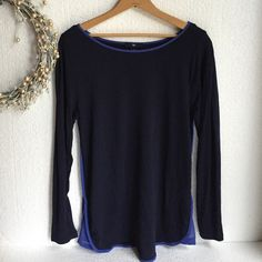 NWOT Gap blue piping blouse Never worn. Long sleeve. It is a slim fitting medium. Soft comfy fabric. GAP Tops Blouses