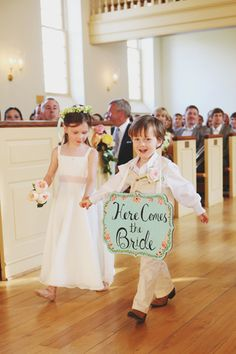 """Flower Girl and """"Ring Bearer"""" with sign :)"""