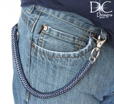 Blue and Silver Wallet Chain - Chainmaille Wallet Chain - Mens Gifts - Chain Wallets - Men's Accessories - Biker Chain Wallet by DameCreation on Etsy