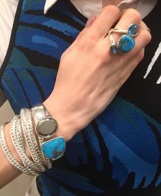 Natural turquoise gets a Modern update in sleek sterling silver