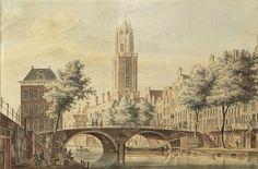 Pieter Jan van Liender (Utrecht 1727-1779), Gezicht op de Gaardbrug, Utrecht