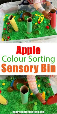 Fall Sensory Bins for Toddlers & Preschoolers - HAPPY TODDLER PLAYTIME Fall Activities For Toddlers, Apple Activities, Sensory Activities, Infant Activities, Sorting Activities, Fall Sensory Bin, Sensory Bins, Baby Sensory, Sensory Table