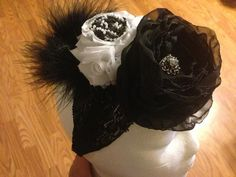 Vintage Large Flower Front Lace Chiffon Double Headband on Etsy, $15.00