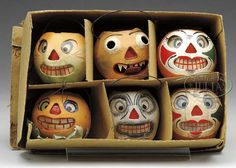 SET OF 6 SMALL PAPIER MACHE PUMPKINS IN OB.