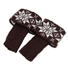RICCOS (TM) Women's Fashion Winter Knitted Warm Boot Cuffs Toppers Leg Warmer Socks with Snowflake (Brown). RICCOS is a Registered TradeMark. Material: 100 % Supersoft Acrylic Cashmere-like. size:19cm+8cm. Colour: Brown. The necessary accessory for the winter season.