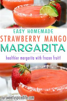Frozen Strawberry Mango Margarita - blend yourself up a delicious frozen cocktail recipe with this strawberry mango margarita recipe. Make up some homemade margaritas and enjoy some easy frozen cocktails with this frozen mango strawberry margarita. Stop wondering how to make frozen margaritas and treat yourself to this healthy margarita loaded up with fruit and without margarita mix. It's time for a homemade frozen cocktail! #margarita #tequila #cocktails Homemade Margaritas, Frozen Margaritas, Frozen Cocktails, Blended Margarita Recipe, Margarita Recipes, Margarita Tequila, Strawberry Margarita, Frozen Fruit, Frozen Strawberries