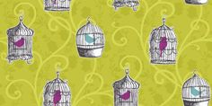 Skylark Lime (417402) - Arthouse Wallpapers - Brightly coloured caged birds, hanging on a curling trail overlaid on another leaf trail. Wild, bold lime green design. Please request sample for true colour match.