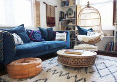 A lounge room with my dream item:  a Beni Ourain-like rug.  Just looking at it makes me feel relaxed!