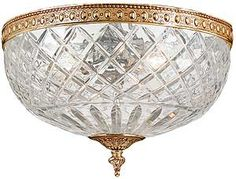 Maria Theresa Small Semi Flush Mount With Clear Crystals In Gold or Chrome Finishes | House of Antique Hardware