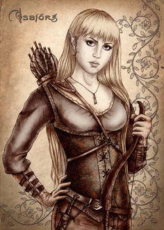 Half-elf, arcane archer by Isbjorg on deviantART