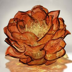 """Large Apricot Lotus by Martin Blank (12.5"""" H x 13"""" x 13"""")"""