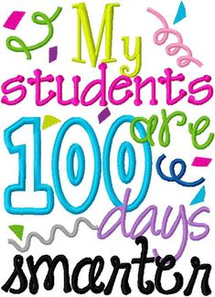 Teacher 100 Days of School Embroidery Applique by DazzlinStitches, $2.25