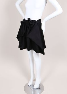 Black Knit Draped Drawstring Skirt