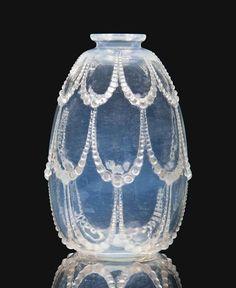 PERLES VASE, designed 1925, opalescent intaglio moulded R. LALIQUE later engraved France 12.3 cm. high