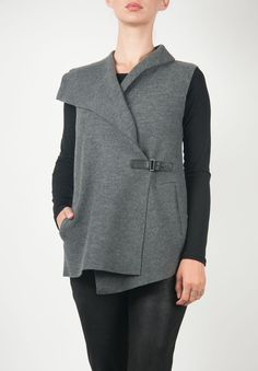 Oska Wide Lapel Asymmetrical Vest in Grey » Santa Fe Dry Goods | Clothing and accessories from designers including Issey Miyake, Rundholz, Yoshi Yoshi, Annette Görtz and Dries Van Noten