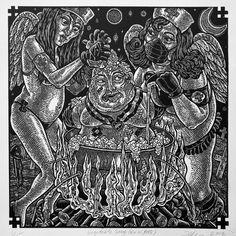 Hillbilly Kama Sutra: A new suite of linoleum cut prints by Tom Hu
