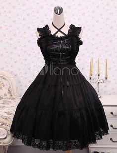 Steampunk - Pure Black Cotton Lolita Jumper Skirt Lace Trim Lace Up Waist Belt