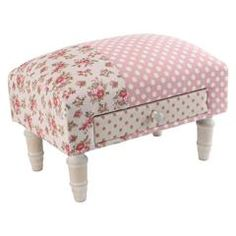 FABRIC STOOL W/WOODEN LEGS (BIRCH) IN PINK COLOR W/FLOWERS AND BUTTERFY DETAILS 41Χ28Χ29 (10% cotton/10% linen/80% polyester)- inart.com