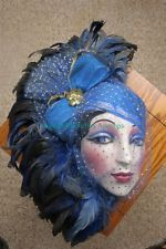 Vintage Clay Art USA Veiled Blue Feathered Porcelain Face Mask Wall Hanging  sc 1 st  Pinterest & 47 best Porcelain Mask images on Pinterest | Carnival masks Mardi ...