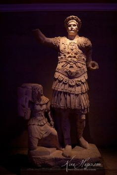 Statue of Roman Emperor Trajan from Perge, 2nd century CE. The girl with him is likely meant to be an Amazon, often used in Greek and Roman art to represent the lands of modern Turkey. Picture by Kira Hagen.