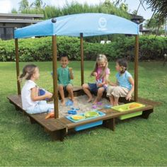 2D31414 Sun Smarties Wood Sandbox with Canopy $230