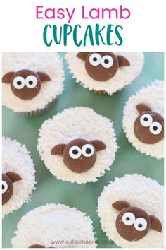 Easy lamb cupcakes recipe - cute treat idea to make with the kids this Easter Lamb Cupcakes, Kid Cupcakes, Themed Cupcakes, Easter Cupcakes, Cupcake Cakes, Easter Snacks, Easter Treats, Easter Recipes, Easter Food