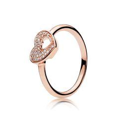 Shimmering Puzzle Heart Frame Rose Gold Ring - Seven Season