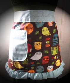 Retro Woodland Owl Half Apron Crescent Ruffle and by KitchTowels, $25.00