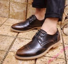 Ladies Leather Pointy Toe Brush-Off Retro Wing Tip Lace Up Brogue Leather Shoes