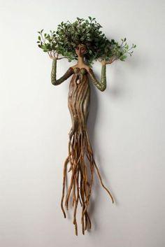 für den Garten im Freien - Jardin Miniature Idee - Best Pins Deco Nature, Driftwood Crafts, Tree Art, Clay Art, Garden Art, Garden Ideas, Sculpture Art, Sculpture Ideas, Mixed Media Sculpture