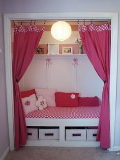 another closet turned nook....I am doing this (minus the curtains) to the front hallway closet this summer