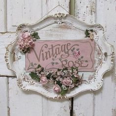 Serving tray wall hanging shabby cottage chic painted 'vintage rose' plaque roses millinery flower embellished sign decor anita spero design - Ornate platter hand painted sign wall hanging by AnitaSperoDesign -